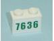 Part No: 3004pb077  Name: Brick 1 x 2 with Green '7636' Pattern (Sticker) - Set 7636