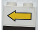 Part No: 3004pb107  Name: Brick 1 x 2 with Yellow Left Arrow and Black Border Pattern (Sticker) - Set 8186
