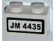 Part No: 3004pb112  Name: Brick 1 x 2 with 'JM 4435' on White Background Pattern (Sticker) - Set 4435