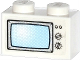 Part No: 3004pb119  Name: Brick 1 x 2 with Blue TV Screen, 2 Buttons and 2 Knobs Pattern (Sticker) - Set 60036