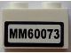 Part No: 3004pb127  Name: Brick 1 x 2 with 'MM60073' Pattern (Sticker) - Set 60073