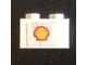 Part No: 3004pb200  Name: Brick 1 x 2 with Shell Logo Medium Pattern, Short Red Stripes (Sticker) - Set 7735