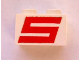 Part No: 3004px22  Name: Brick 1 x 2 with Red Sterling S Pattern (1551)
