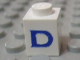 Part No: 3005ptDs  Name: Brick 1 x 1 with Blue 'D' Pattern (Serif Font)