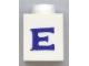 Part No: 3005ptEs  Name: Brick 1 x 1 with Blue 'E' Pattern (Serif Font)