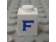 Part No: 3005ptFs  Name: Brick 1 x 1 with Blue 'F' Pattern (Serif Font)