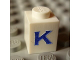 Part No: 3005ptKs  Name: Brick 1 x 1 with Blue 'K' Pattern (Serif Font)