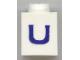 Part No: 3005ptUs  Name: Brick 1 x 1 with Blue 'U' Pattern (Serif Font)