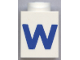 Part No: 3005ptWb  Name: Brick 1 x 1 with Blue 'W' Pattern (Bold Font)