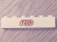 Part No: 3009pb040  Name: Brick 1 x 6 with Lego Logo Open O Style Red Outline Pattern