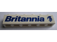 Part No: 3009pb053R  Name: Brick 1 x 6 with Blue 'Britannia' Text and Logo Right Pattern (Sticker) - Set 1599