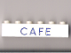 Part No: 3009pb058  Name: Brick 1 x 6 with Blue 'CAFE' Pattern