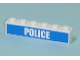 Part No: 3009pb123  Name: Brick 1 x 6 with White 'POLICE' Bold Narrow Font on Blue Pattern (Sticker) - Set 7743