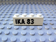 Part No: 3010pb019  Name: Brick 1 x 4 with Black 'IKA 83' Pattern