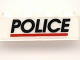Part No: 3010pb047  Name: Brick 1 x 4 with Black 'POLICE' Red Line on White Background Pattern (Sticker)