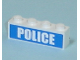 Part No: 3010pb103  Name: Brick 1 x 4 with White 'POLICE' Bold Font on Blue Background Pattern (Sticker)