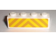 Part No: 3010pb105  Name: Brick 1 x 4 with Orange and Yellow Danger Stripes Pattern (Sticker) - Set 7733