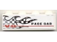 Part No: 3010pb107L  Name: Brick 1 x 4 with Checkered Flame and 'V-8 PACE CAR' Pattern Model Left (Sticker) - Set 8121