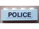 Part No: 3010pb133  Name: Brick 1 x 4 with Black 'POLICE' on White Background Pattern (Sticker) - Set 6676