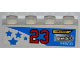 Part No: 3010pb149R  Name: Brick 1 x 4 with Blue Stars, Number '23', 'ZENZORA', 'NUTY REZ' and 'SPIN WEAR' Pattern Model Right (Sticker) - Set 8125
