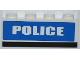 Part No: 3010pb152  Name: Brick 1 x 4 with White 'POLICE' Short Font on Blue Background Pattern (Sticker)