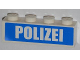 Part No: 3010pb158  Name: Brick 1 x 4 with White 'POLIZEI' on Blue Background Pattern (Sticker) - Set 7743