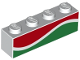 Part No: 3010pb258  Name: Brick 1 x 4 with Red and Green Waves (Octan Fuel) Pattern