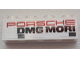 Part No: 3010pb260  Name: Brick 1 x 4 with Red 'PORSCHE' and Black 'DMG MORI' and 2 Dark Bluish Gray Rectangles Pattern on Both Sides (Stickers) - Set 75876