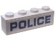 Part No: 3010pb263  Name: Brick 1 x 4 with Blue 'POLICE' on White Background Pattern (Sticker) - Set 60176