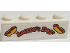 Part No: 3010pb280  Name: Brick 1 x 4 with Hot Dogs and 'Roscoe's Dogs' Pattern (Sticker) - Set 75883