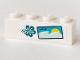 Part No: 3010pb297  Name: Brick 1 x 4 with Dark Turquoise Hibiscus Flower, 2 Birds, Water and Sun Pattern (Sticker) - Set 41364