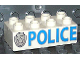 Part No: 3011pb019  Name: Duplo, Brick 2 x 4 with 'POLICE' and Star Badge Silver Pattern