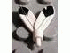 Part No: 30126p01  Name: Minifigure, Headgear Accessory Plume Feathers with Pin and Black Tip on Both Sides Pattern