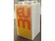 Part No: 30145pb020  Name: Brick 2 x 2 x 3 with Orange 'EUM' on Yellow Background Pattern (Sticker) - Set 60200