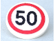 Part No: 30261pb017  Name: Road Sign Clip-on 2 x 2 Round with Black Number 50 in Red Circle Pattern (Sticker) - Set 8401