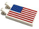Part No: 30350bpb097  Name: Tile, Modified 2 x 3 with 2 Clips with American Flag Pattern (Sticker) - Set 10266