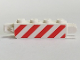 Part No: 30387p02  Name: Hinge Brick 1 x 4 Locking, 9 Teeth with Red and White Danger Stripes Red Pattern on Both Sides