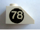 Part No: 3040apb02L  Name: Slope 45 2 x 1 - without Bottom Tube with White '78' on Black Circle Pattern Left (Sticker) - Set 619