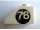 Part No: 3040apb02R  Name: Slope 45 2 x 1 - without Bottom Tube with White '78' on Black Circle Pattern Right (Sticker) - Set 619