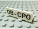 Part No: 30413pb010  Name: Panel 1 x 4 x 1 with Black 'OB-CPO' Pattern (Sticker) - Set 7623