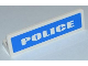 Part No: 30413pb027  Name: Panel 1 x 4 x 1 with White 'POLICE' Bold Wide Font on Blue Background Pattern (Sticker) - Set 7236-2