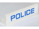 Part No: 30413pb040  Name: Panel 1 x 4 x 1 with Blue 'POLICE' Thin Narrow Font on White Background Pattern (Sticker) - Set 60042
