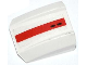Part No: 30602pb062  Name: Slope, Curved 2 x 2 Lip with Red Stripe and 2 Black Holes Pattern (Sticker)