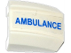 Part No: 30602pb073L  Name: Slope, Curved 2 x 2 Lip with Blue 'AMBULANCE' Pattern Model Left Side (Sticker) - Set 60086