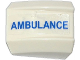 Part No: 30602pb073R  Name: Slope, Curved 2 x 2 Lip with Blue 'AMBULANCE' Pattern Model Right Side (Sticker) - Set 60086