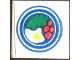 Part No: 3068apb15  Name: Tile 2 x 2 without Groove with Blue Circle Plate, Fried Egg, 4 Red Spots Pattern 2 (Sticker) - Set 269