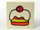 Part No: 3068bpb0057  Name: Tile 2 x 2 with Groove with Fabuland Cake, Icing and Red Cherry Pattern