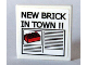 Part No: 3068bpb0156  Name: Tile 2 x 2 with Groove with Newspaper 'NEW BRICK IN TOWN !!' Pattern (Sticker) - Set 10184