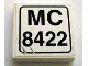 Part No: 3068bpb0157  Name: Tile 2 x 2 with Groove with 'MC 8422' Pattern (Sticker) - Set 8422