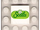 Part No: 3068bpb0170  Name: Tile 2 x 2 with Groove with 'Scala' Script and White Flower on Green Oval Pattern